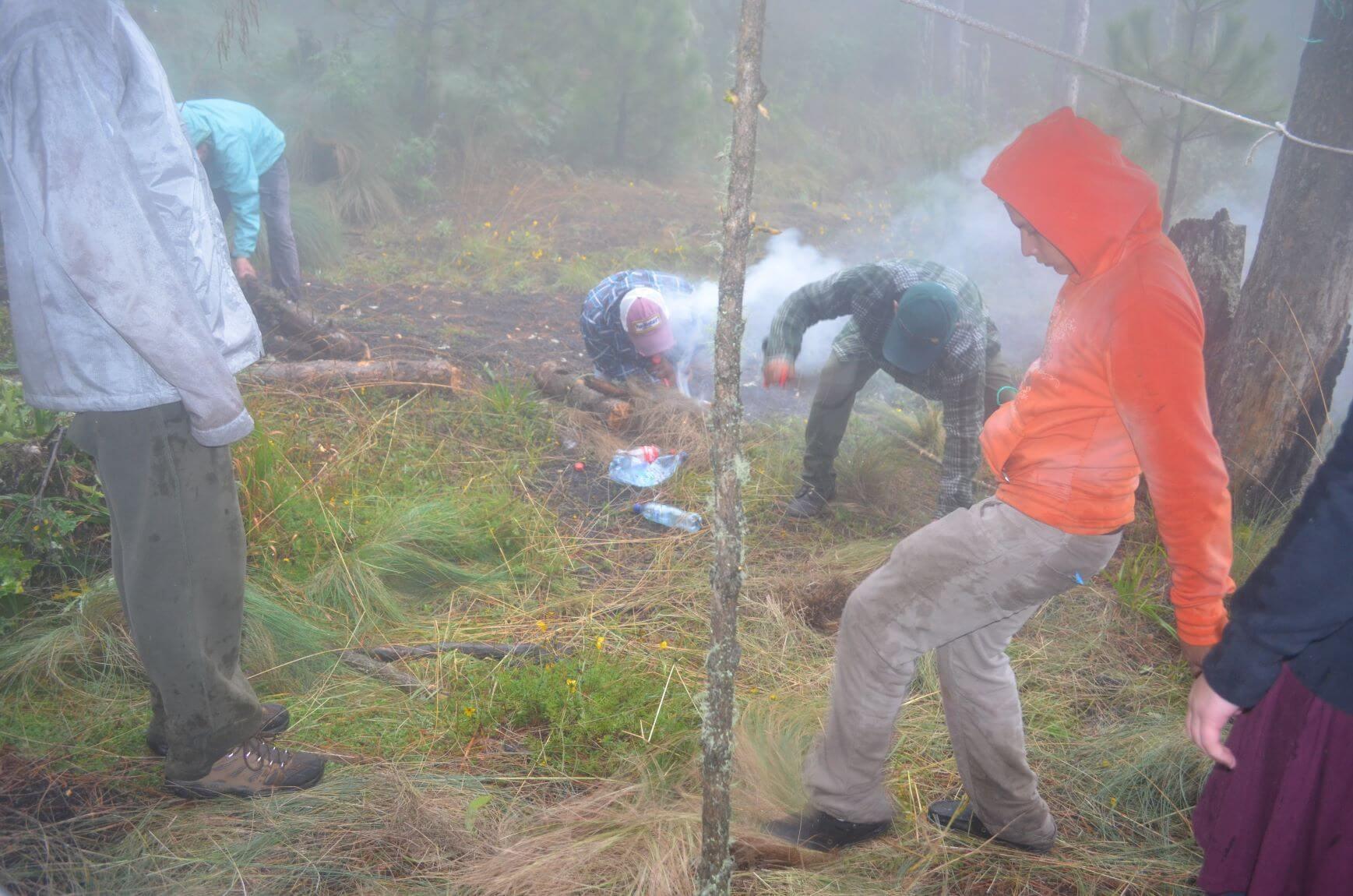 Making a fire at Volcano Acatenango
