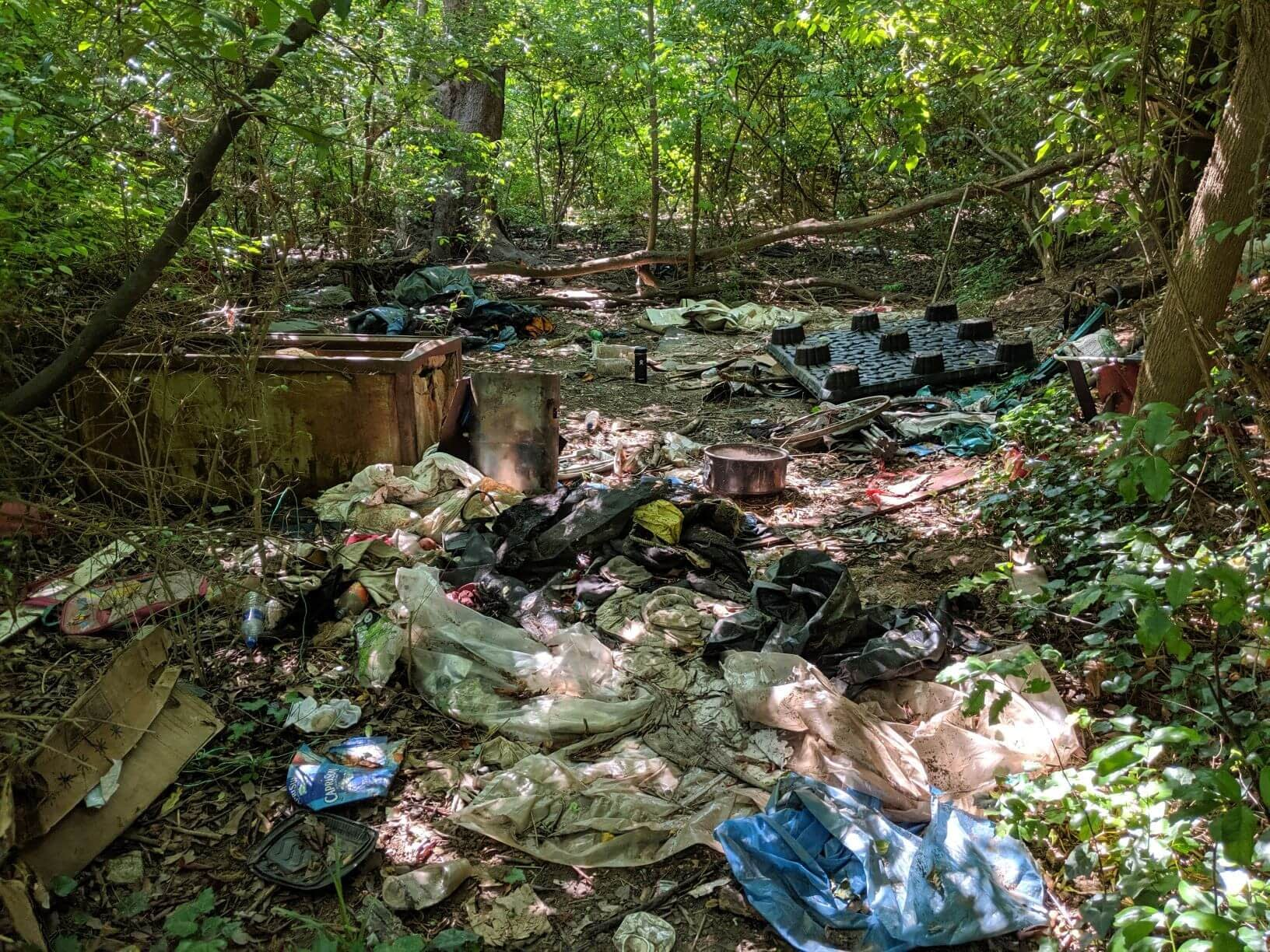 Before cleaning up a homeless camp near the atlanta beltline