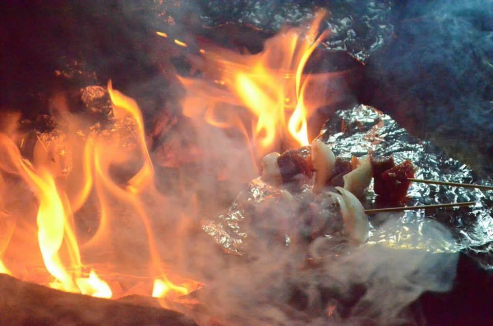 eating shishkabobs on top of Acatenango Volcano