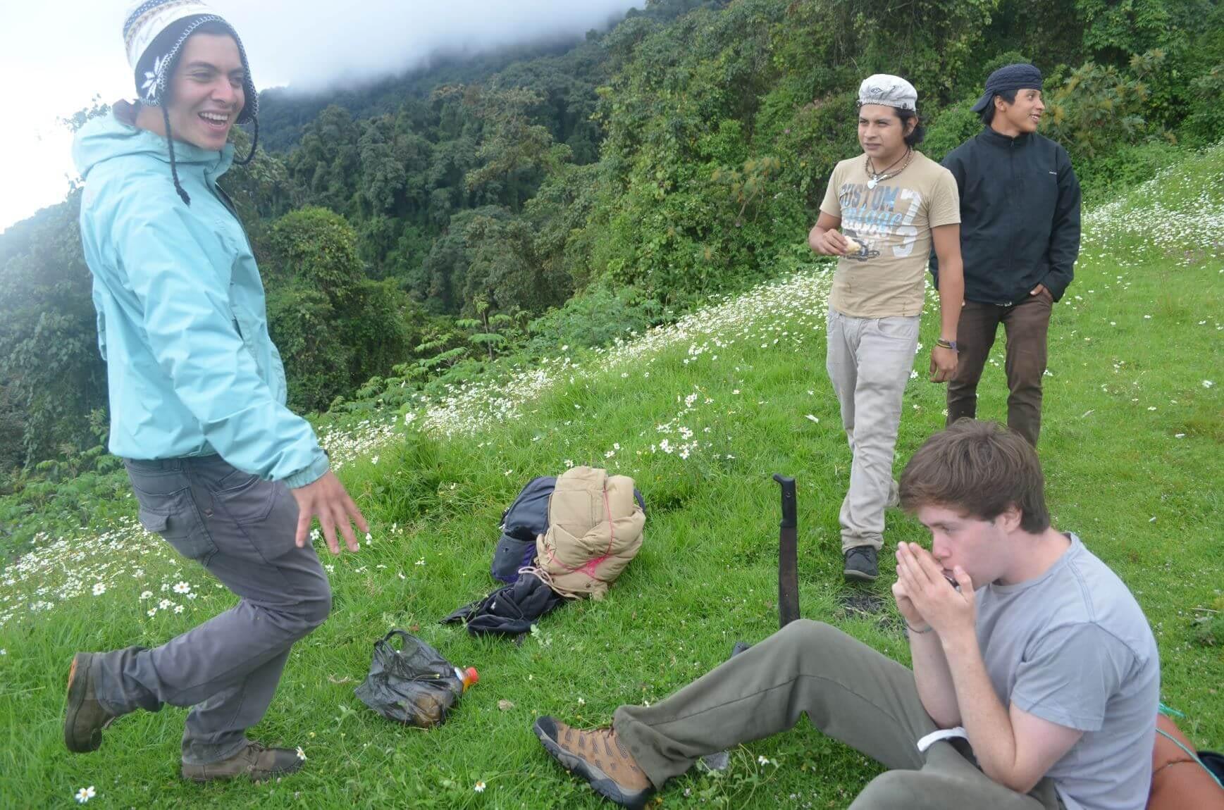 Listening to Harmonica on the way hiking up Acatenango Volcano