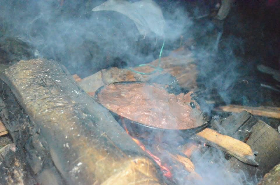 Cooking Beans over a fire at Volcano Acatenango
