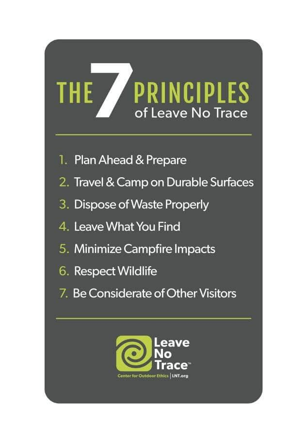 A list of the seven principles of Leave No Trace