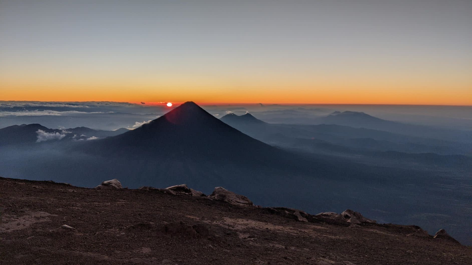 Sunrise from the top of acatenango volcano