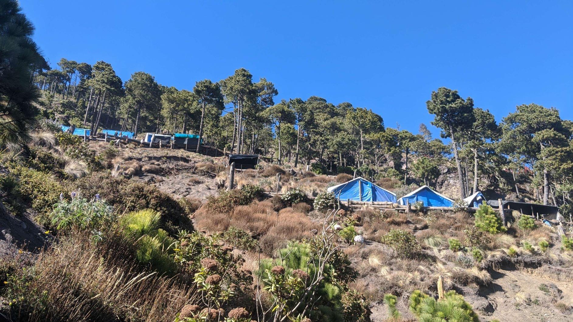 Campsites on top of Volcano Acatenango