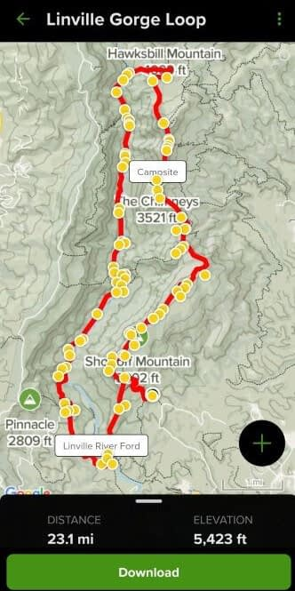A screenshot of a very important day hike essential: a map. The pictured map is from the All Trails app showing the Linville Gorge Loop trail