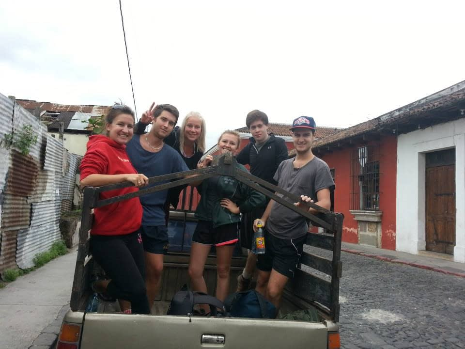 in theback of a pick up truck in Antigua Guatemala