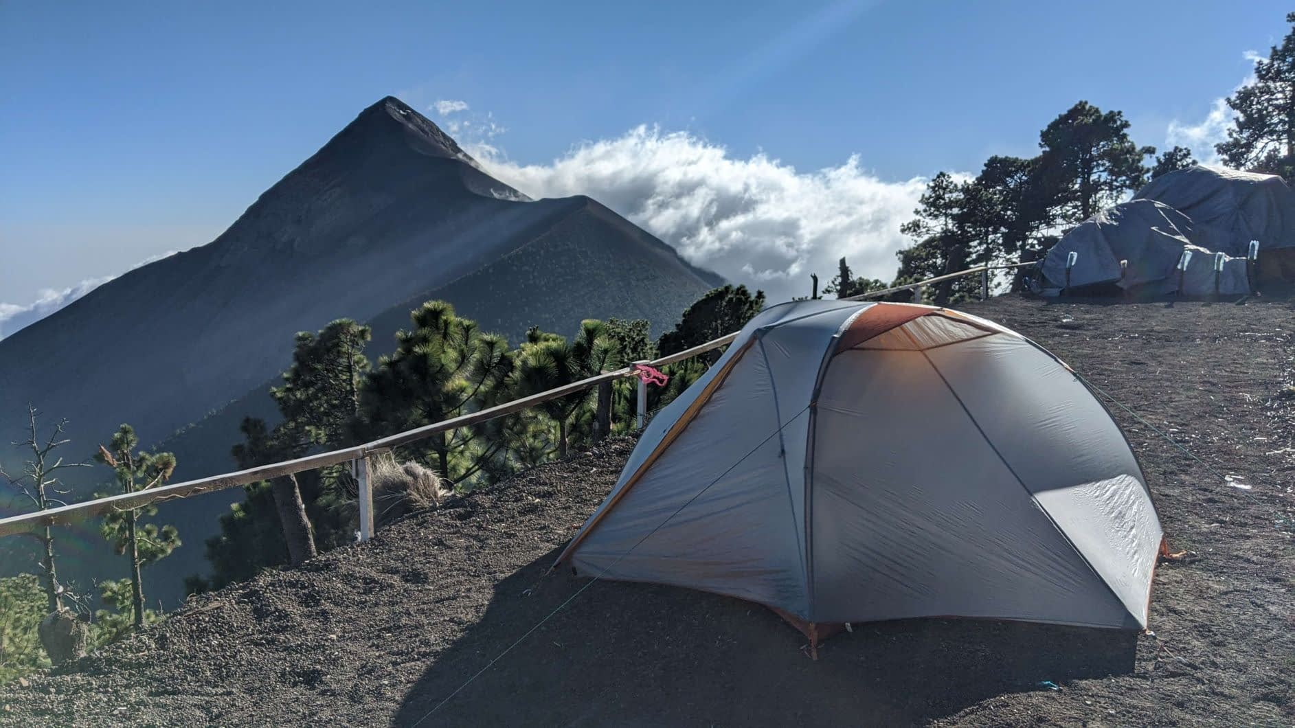 our tent set up on top of acatenango looking at Fuego